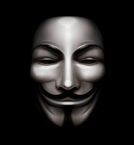 アノニマス(anonymous)=匿名を表すガイ・フォークスの仮面